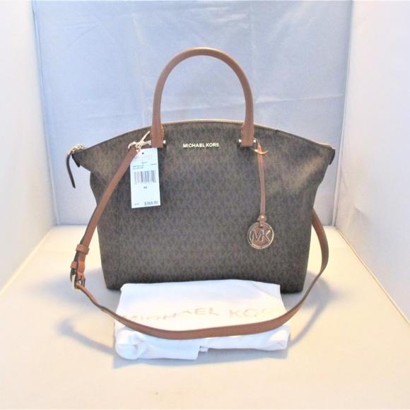 9d9ce5b624e2 Michael Kors Bags | Riley Signature Logo Top Zip Satchel | Poshmark